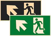фотолюминесцентный знак эвакуации Е34 Направление к эвакуационному выходу налево вверх