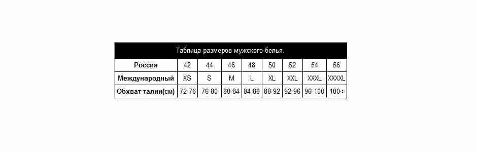 Таблица размеров мужского белья