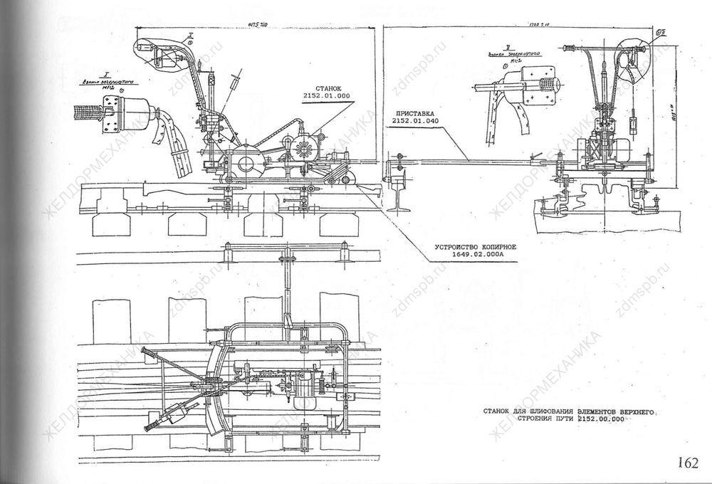Стр. 162 Чертеж Станок для шлифования элементов верхнего строения пути 2152.00.000