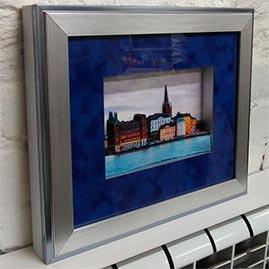 Готовая работа папертоль Вечерний Стокгольм — оформление в рамку.