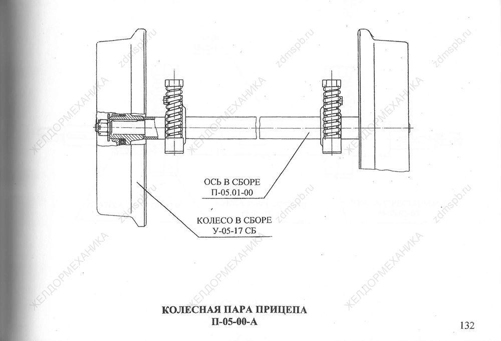 Стр. 132 Чертеж Колесная пара прицепа П-05-00-А