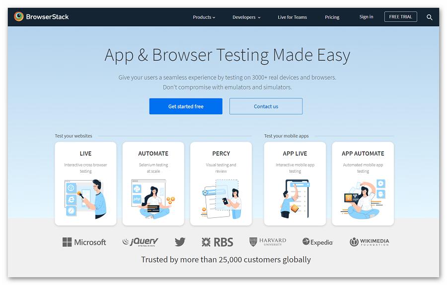 Главная страница BrowserStack
