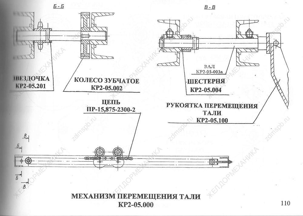 Стр. 110 Чертеж Механизм перемещения тали КР2-05.000