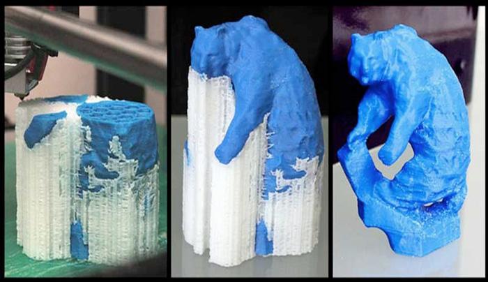 Распечатанный на 3D-принтере объект из ABS с поддержками из HIPS