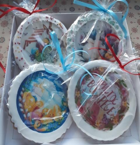 Набор безглютеновых пряников 4 медальона, подарок к пасхе