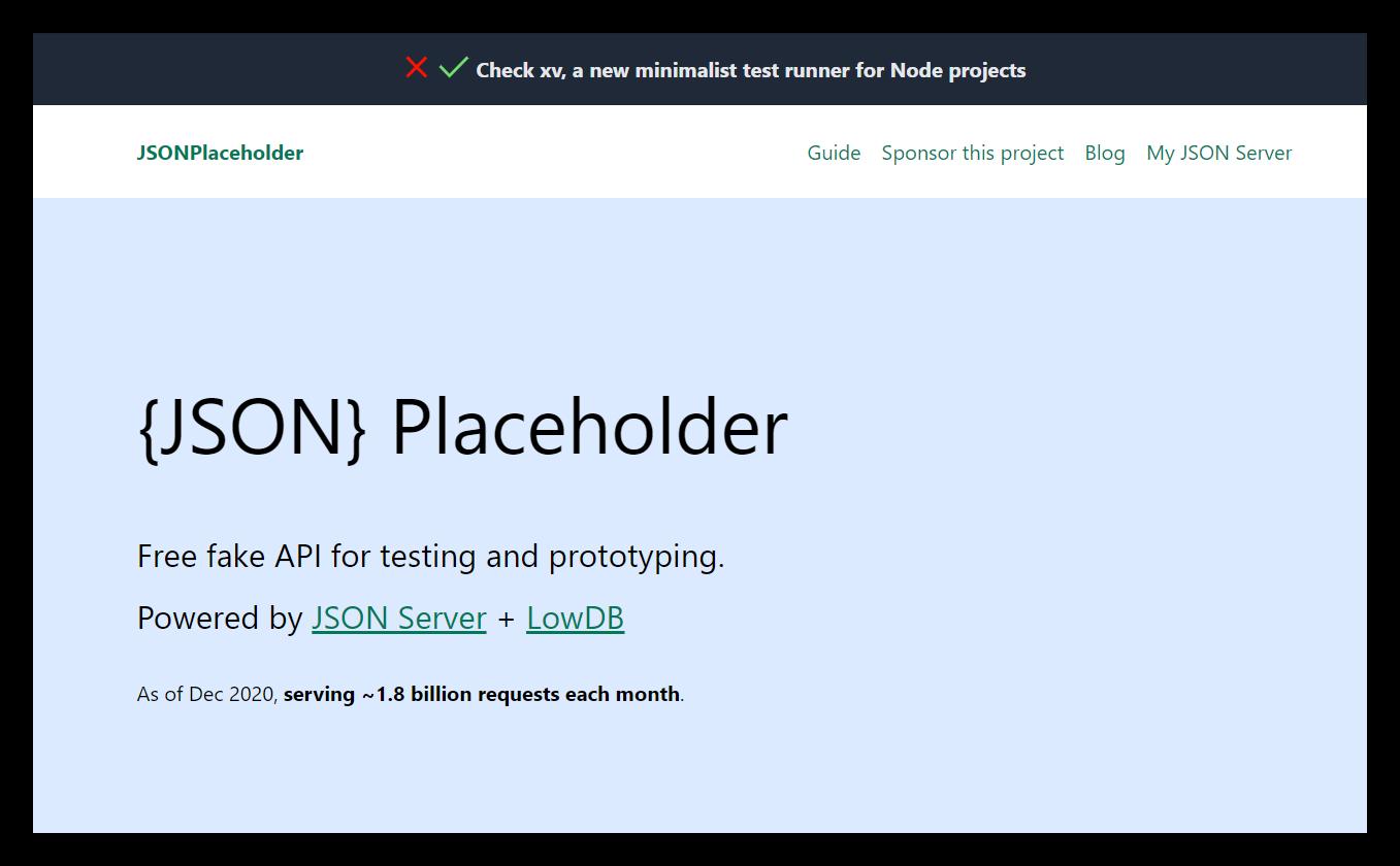 Главная страница JSON Placeholder