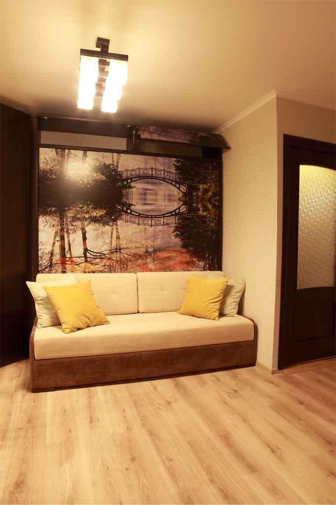 Антресоль для шкафа-кровати 180х200 с софой,<br />МДФ-фасады с УФ-печатью