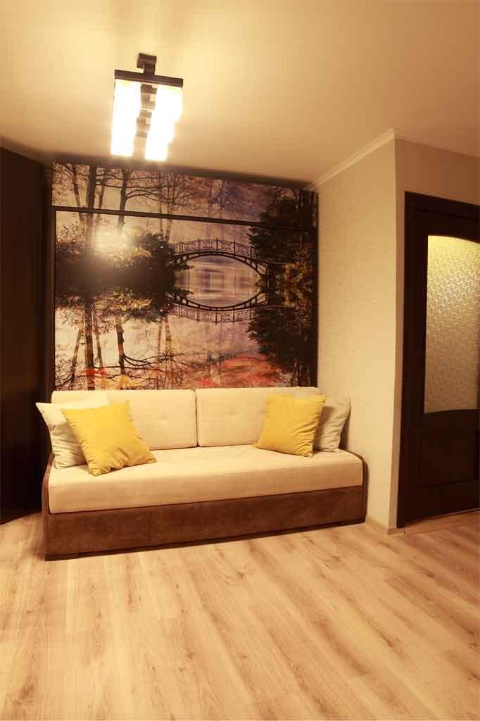 Шкаф-кровать 180х200 с софой,<br />МДФ-фасады с УФ-печатью