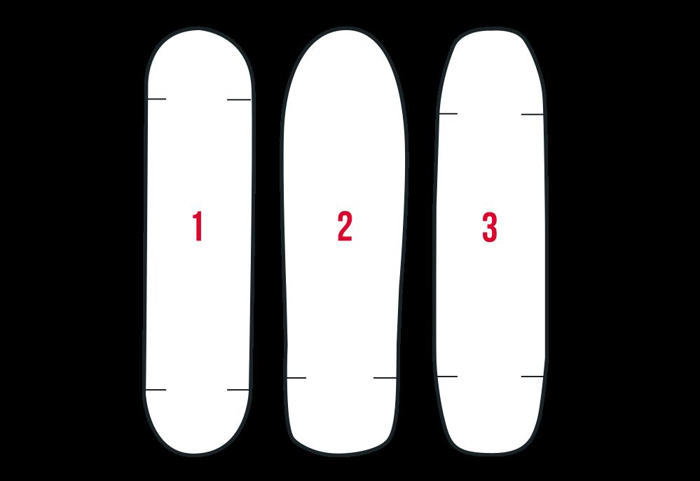 Варианты формы концов деки для скейтборда