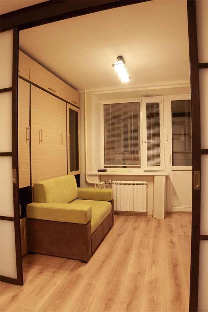 Шкаф-кровать 90х200 с диваном,<br />фасады ЛДСП зебрано песочный