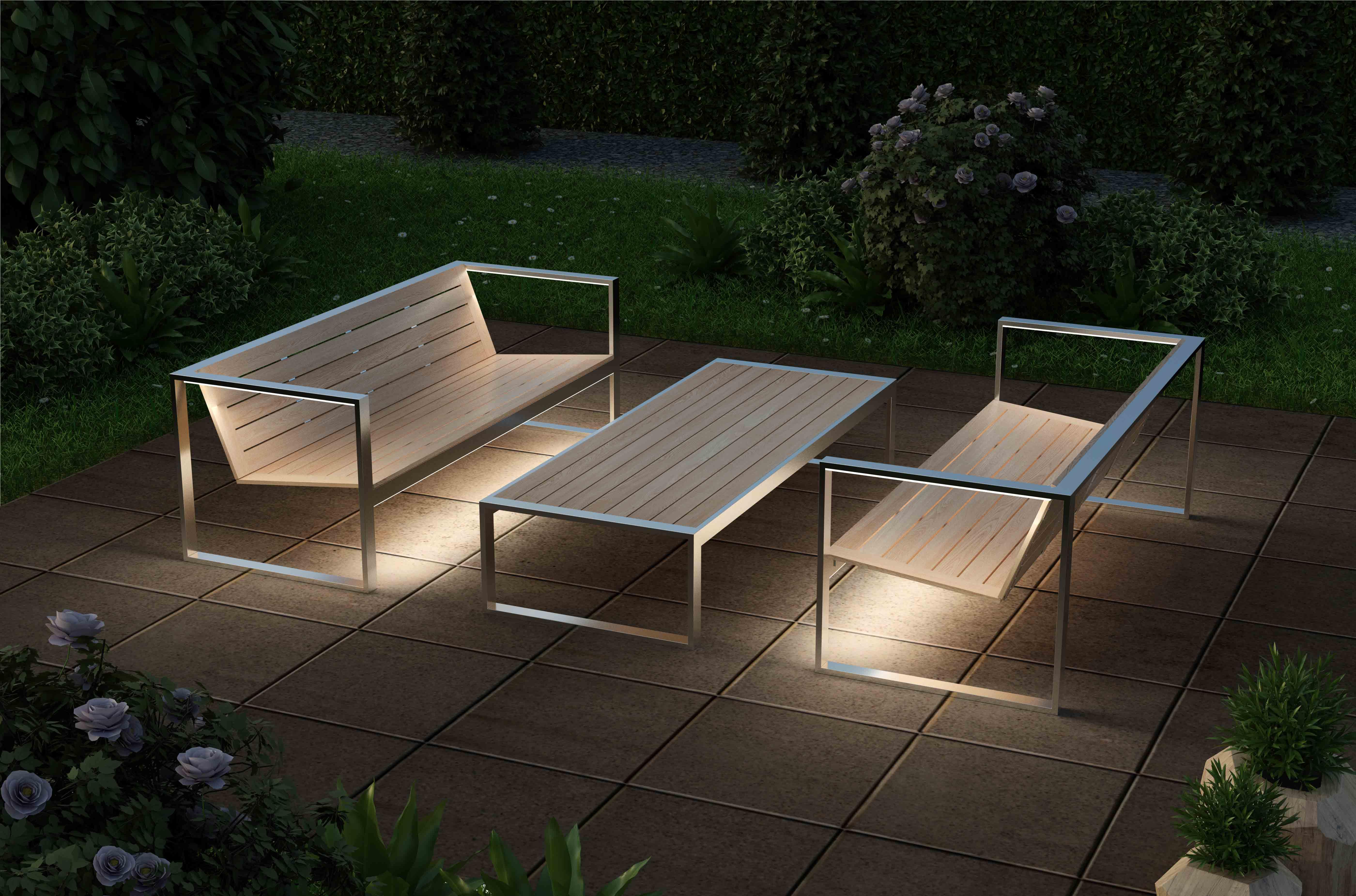 комплект уличной мебели с led посдветкой