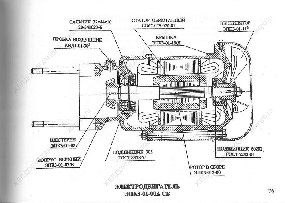 Стр. 76 Чертеж Электродвигатель ЭПКЗ-01-00А СБ