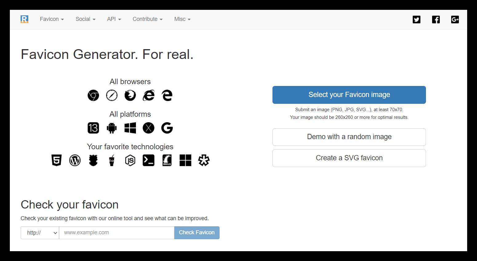 Главная страница Favicon Generator