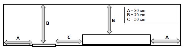 Рекомендуемые безопасные дистанции для аварийных светильников для высоких потолков серии SLIMSPOT II