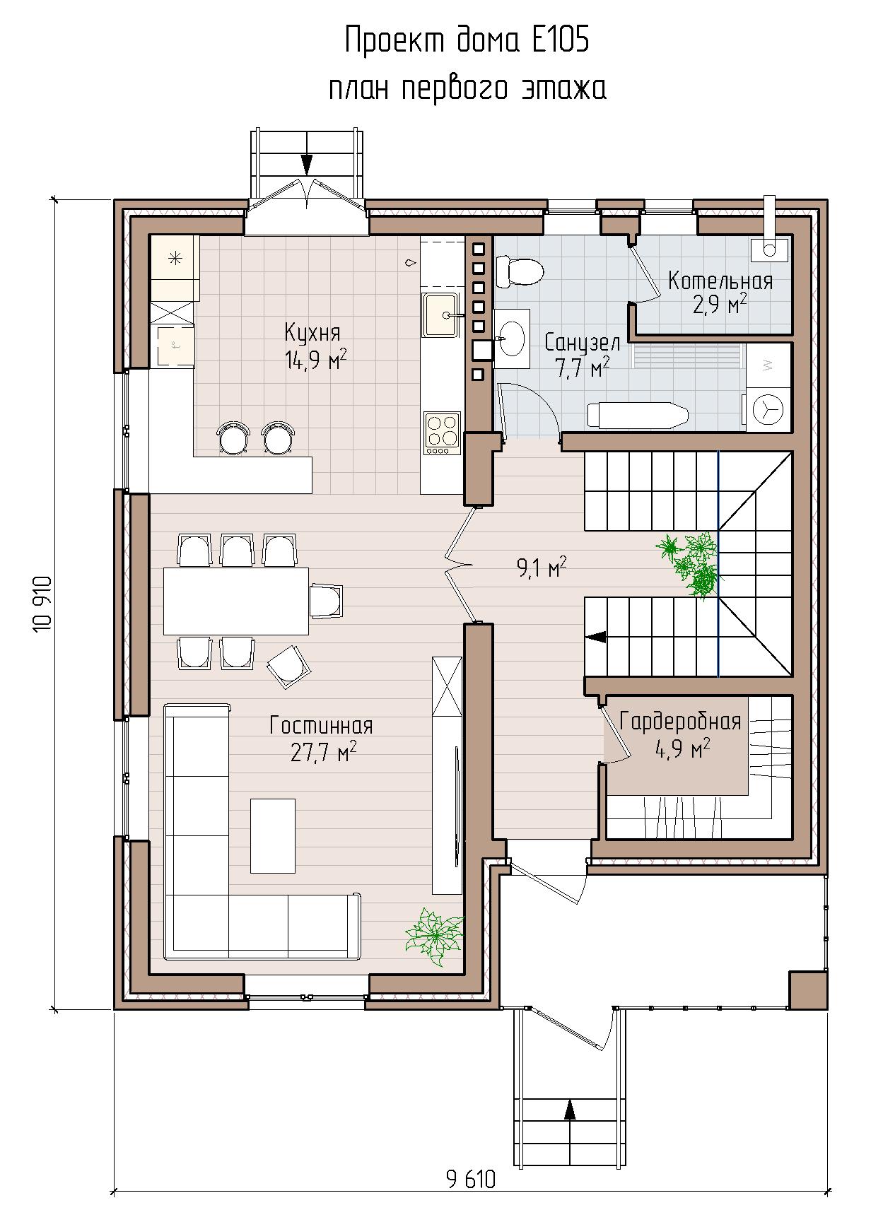 Проект кирпичного дома в красно-желтом кирпиче
