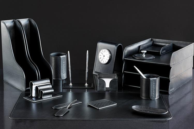 Настольный набор руководителя люкс из 16 предметов из кожиBlack.