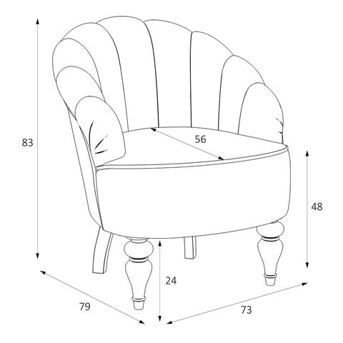 Размеры кресло классическое прованс KREIND Шелли