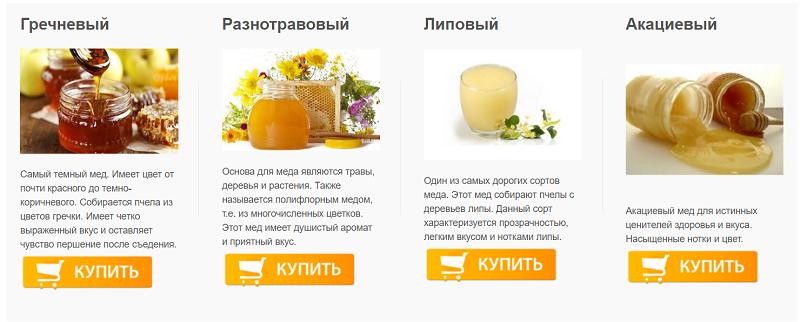 Популярные сорта меда на сайте
