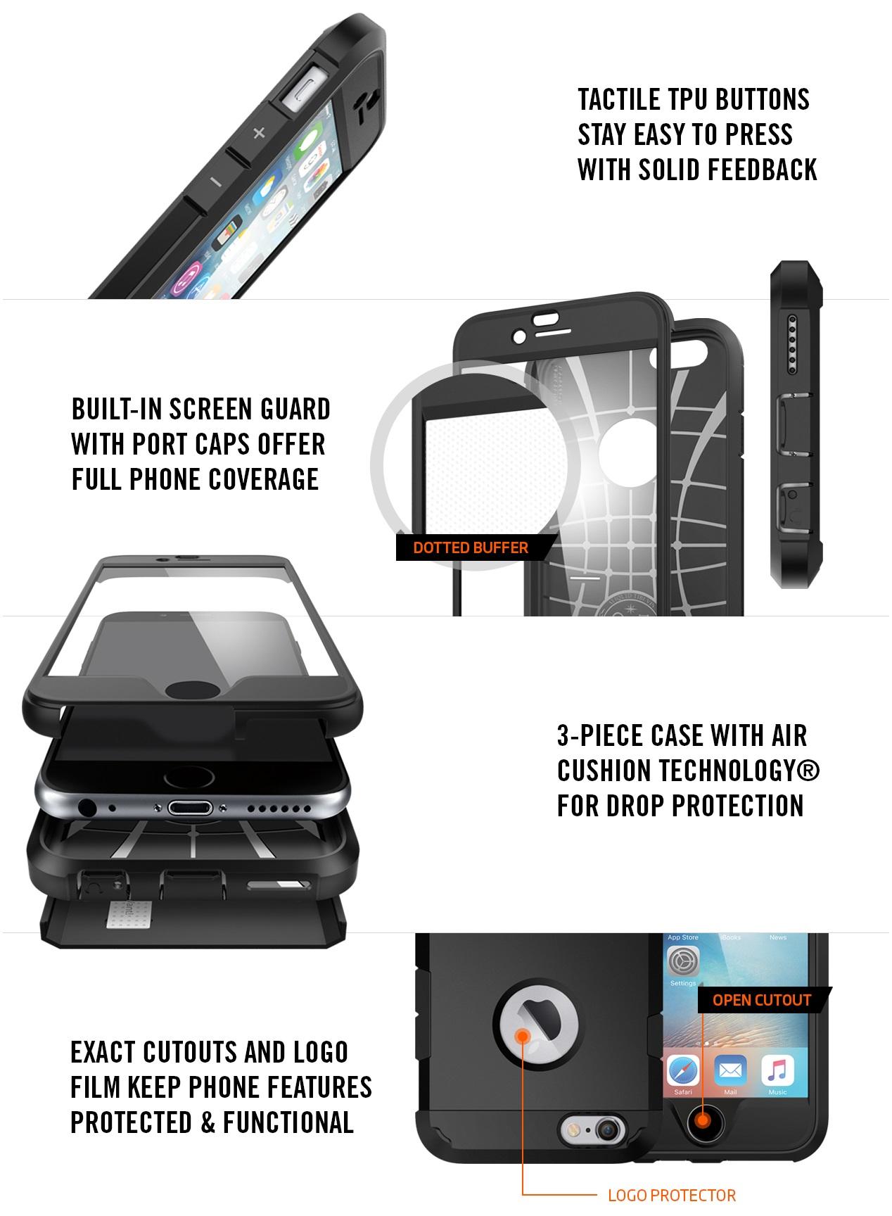 Противоударнаянакладка с экраном выполненная по стандартам военного классаMIL-STD 810G-516.6.Case Perfect Armor Sgp Spigen для iPhone 6 / 6S.