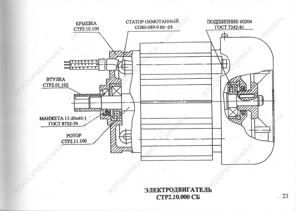 Стр. 23 Чертеж Электродвигатель СТР2.10.000СБ