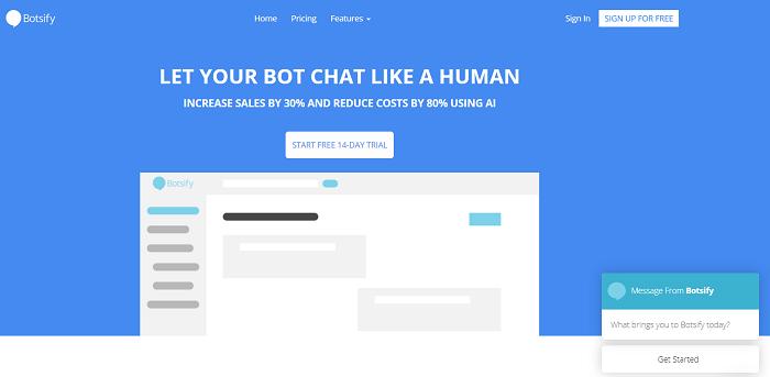 Botsify для создания бота вFacebook Messenger