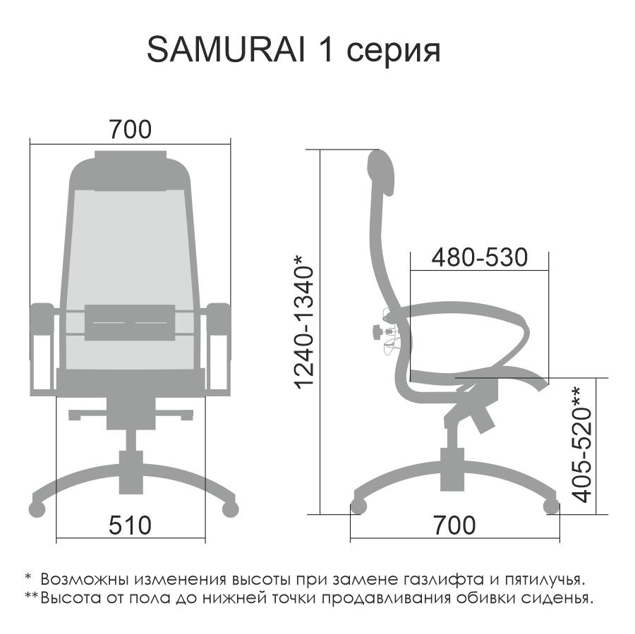 Размеры кресла Samurai Comfort-1.01