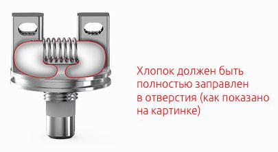Концы хлопка должны быть заправлены вниз в отверстия палубы TF-RDTA S2