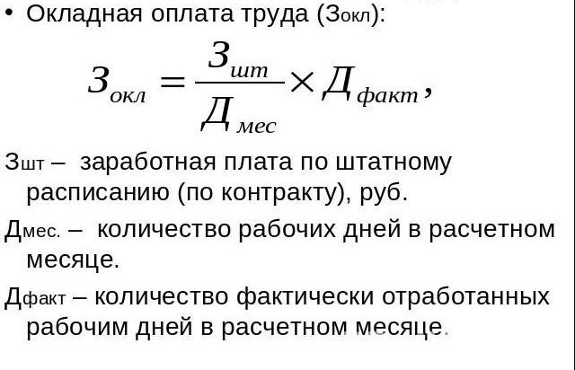 Классическая формула расчета в повременной системе оплаты