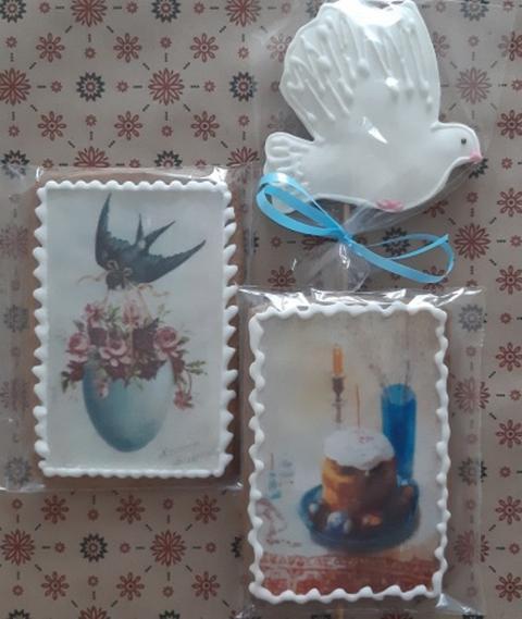Безглютеновые пряники к пасхе 2 открытки и голубь, подарочный набор