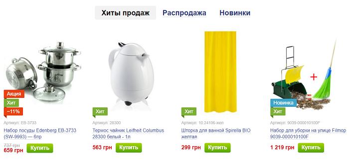 Ценовая политика на сайте по продаже товаров для дома