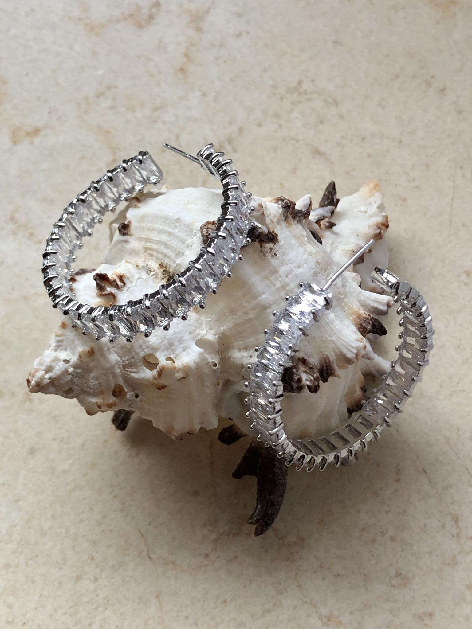 Блестящие серьги кольца