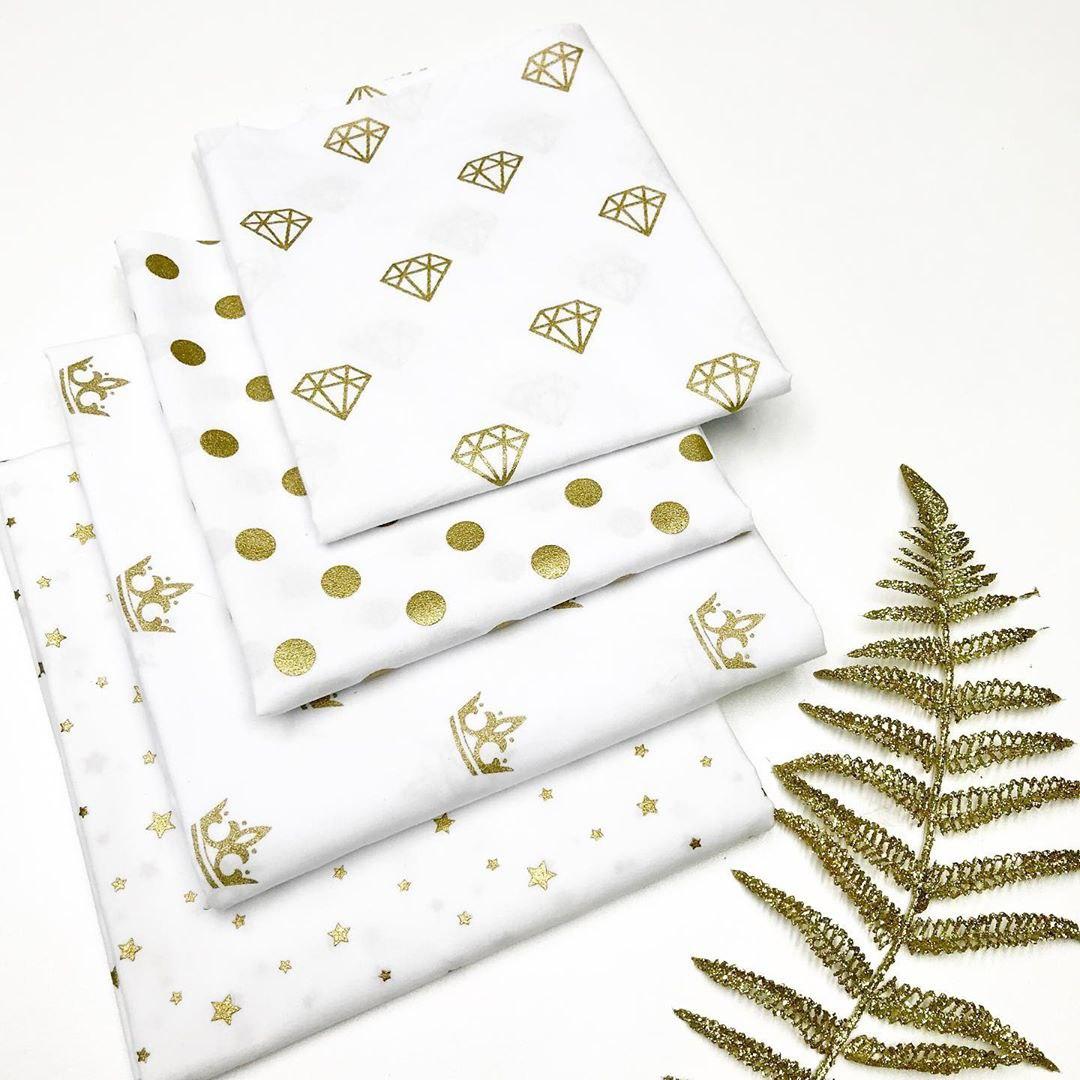 Детские ткани с золотым рисунком