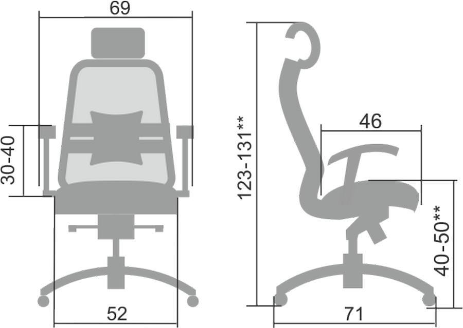 Размеры кресла Samurai SL-3.041