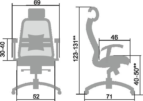 Размеры кресла Samurai SL 3.04