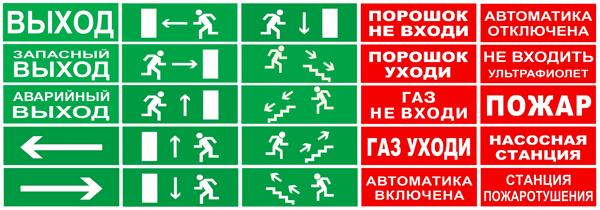Надписи на двухсторонний пожарный светоуказатели выход 220В ЛЮКС-220-Д