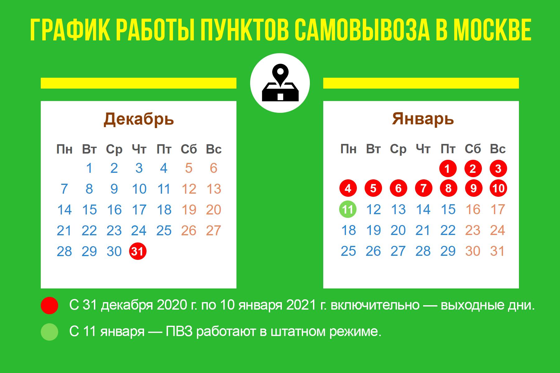 График работы пунктов самовывоза в Москве и Московской области
