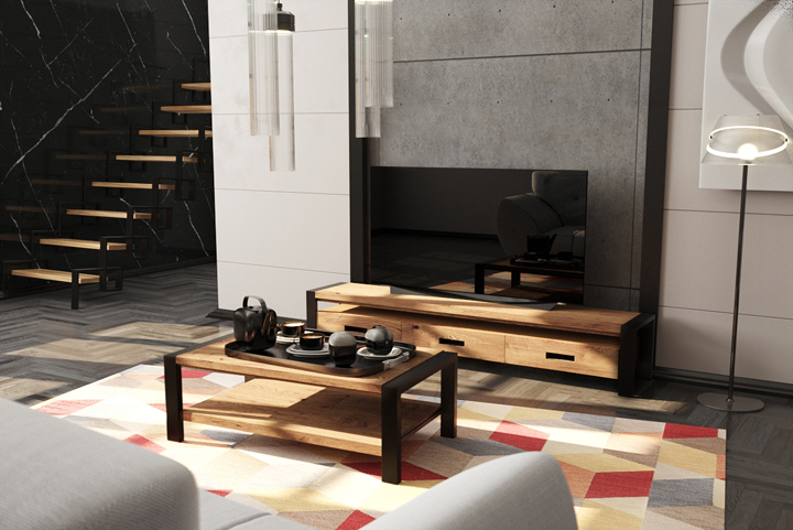 Гостиная в стиле лофт из сосны и металла Лугано