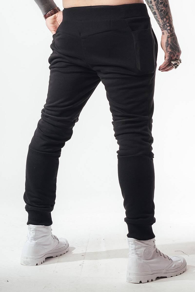 штаны трико зауженные мужские черные с резинкой внизу sb БМ-5022