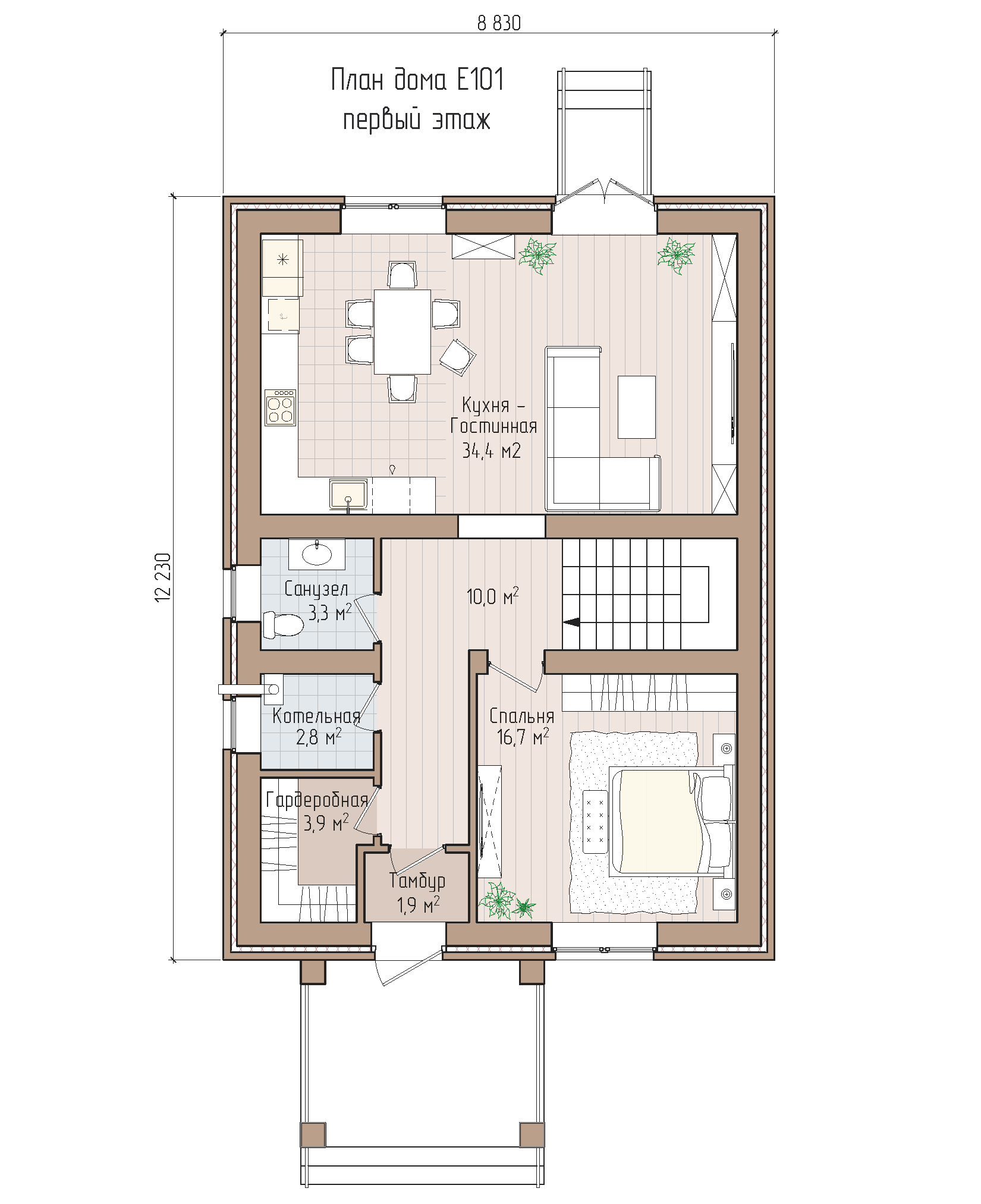 Кирпичный дом с мансардой для вытянутых участков