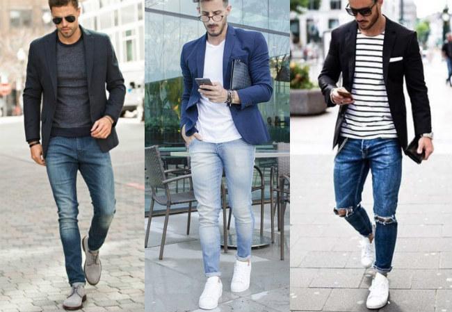 Правильно сочетание пиджака с джинсами. пустые карманы.