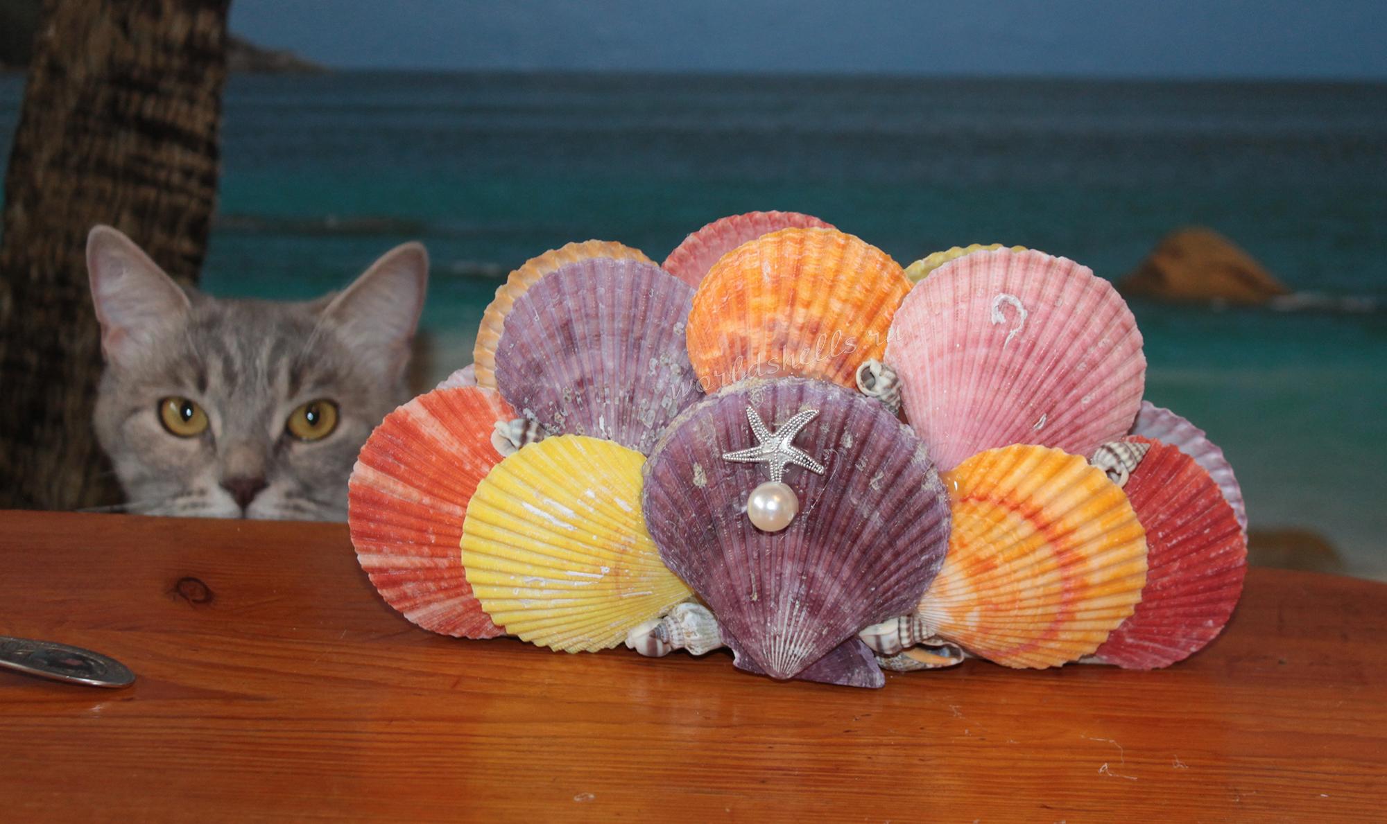 Декоративная салфетница с ракушками в морском стиле