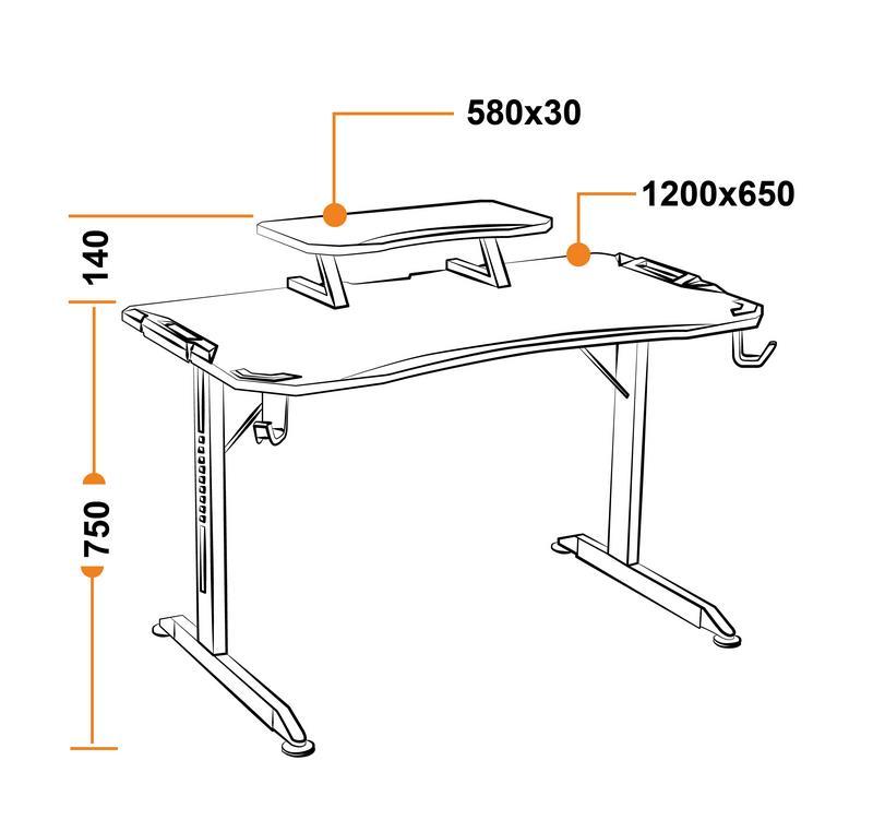 Размеры компьютерного игрового стола Cyber-4