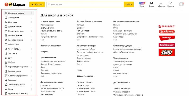 Разделы каталога на «Маркете»