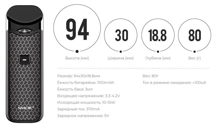 Спецификации SMOK Nord Kit