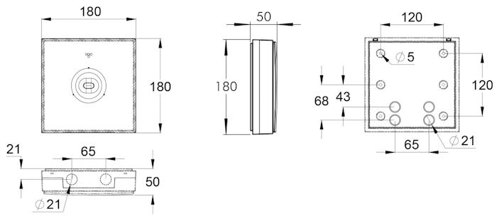 Чертеж аварийного светильника потолочного типа ZONESPOT II MIDBAY