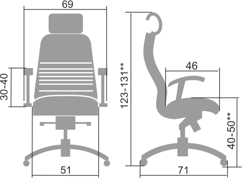 Размеры кресла Samurai KL-3.04