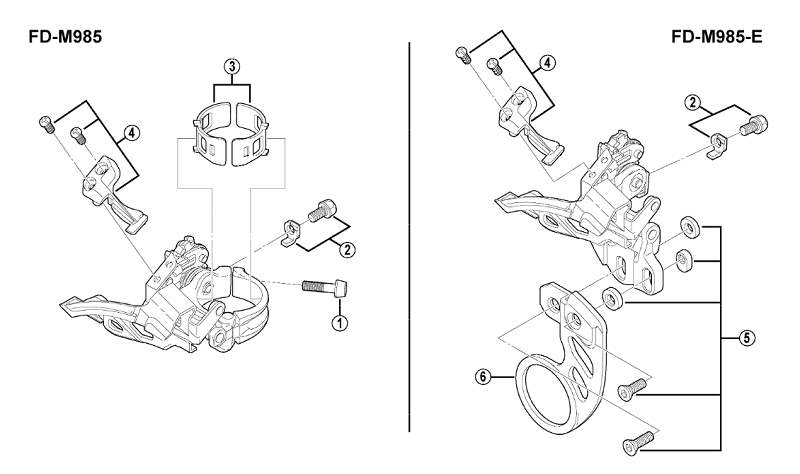 Типы крепления переднего переключателя