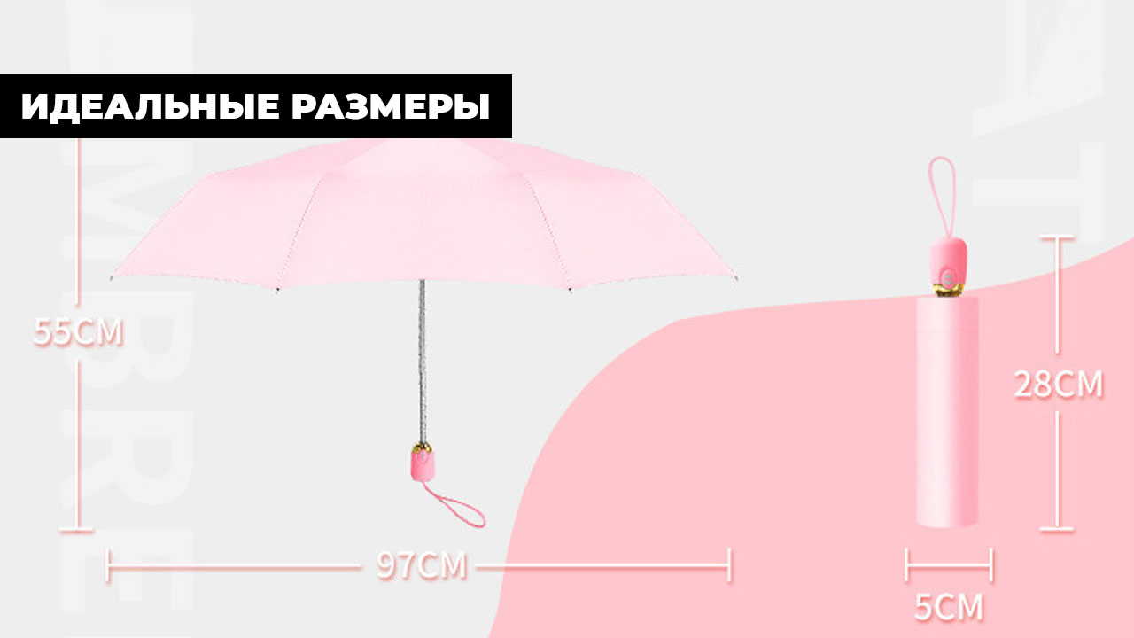 Зонт однотонный серый складной автомат | ZC Kollo design