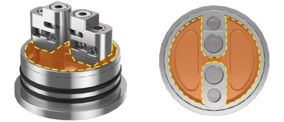 Специальные мостовой дизайн стоек GeekVape Peerless Special Edition RDA, которые делают камеру с жидкостью открытой, чтобы исключить несбалансированную пропитку.