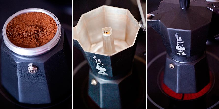 фото гейзерной кофемашины с кофе